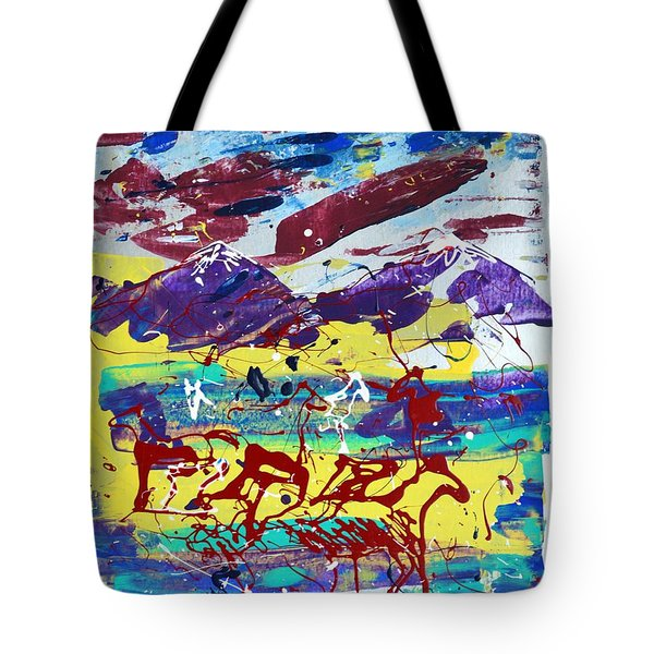 Tote Bag featuring the painting Green Pastures And Purple Mountains by J R Seymour