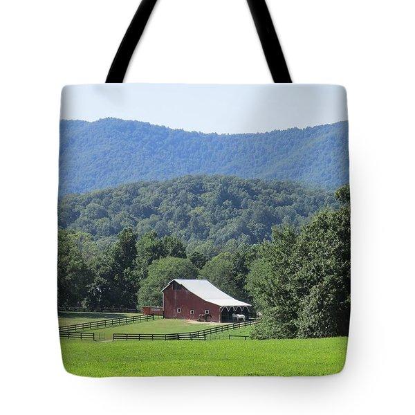 Mountain Barn Retreat Tote Bag by Charlotte Gray