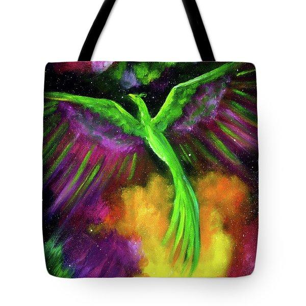Green Phoenix In Bright Cosmos Tote Bag