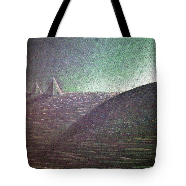 Tote Bag featuring the drawing Green Pyramid B by Mayhem Mediums