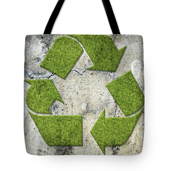 Green Recycling Sign On A Concrete Wall Tote Bag