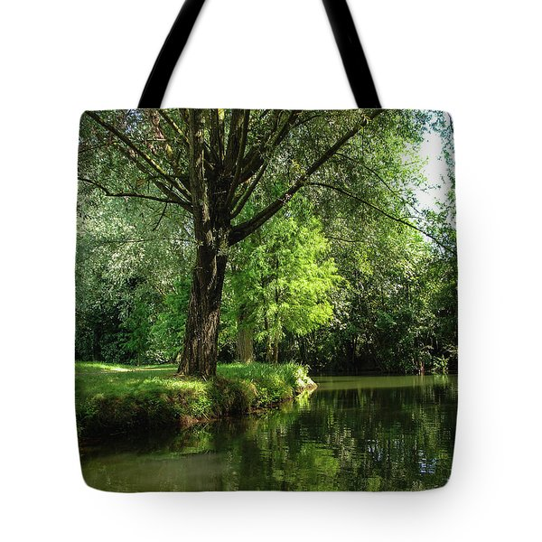 Tote Bag featuring the photograph Green Reflections by Cristina Stefan