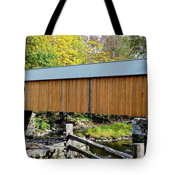 Tote Bag featuring the photograph Green River Covered Bridge - Southern Vermont by Joseph Hendrix