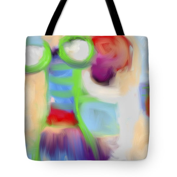 Green Robot Eyes Tote Bag