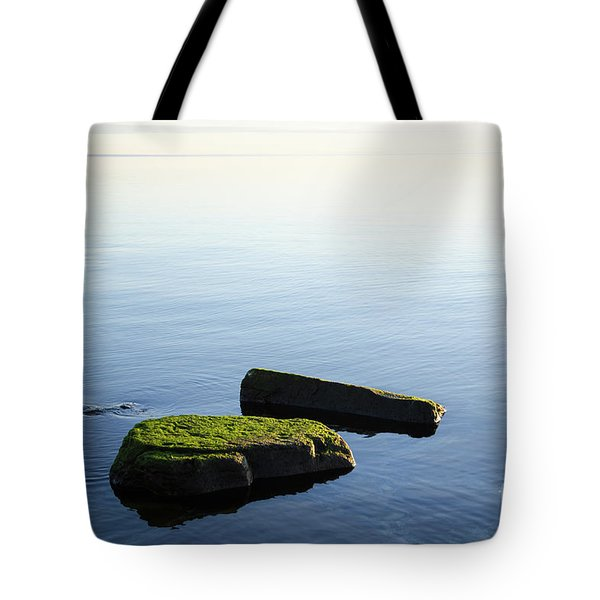 Tote Bag featuring the photograph Green Rocks In Smooth Water by Kennerth and Birgitta Kullman