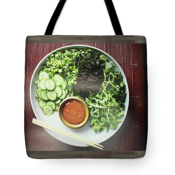Tote Bag featuring the photograph Green Salad Presentation Chef Cuisine Kitchen Lifestyle Christmas Holidays Birthday Festivals Mom  by Navin Joshi