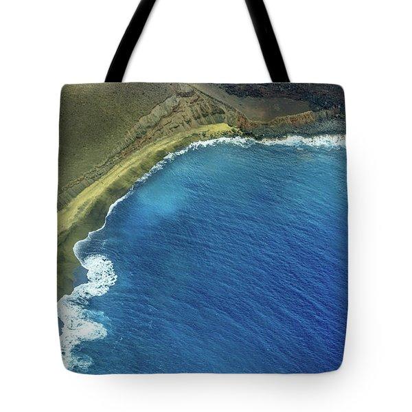 Green Sand Beach Aerial Tote Bag