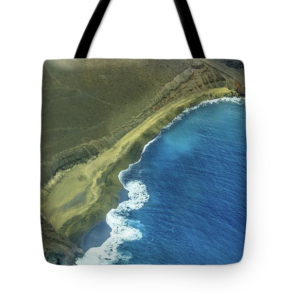 Green Sand Beach Aerial Tote Bag