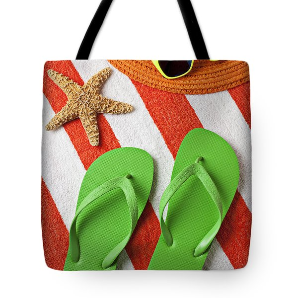 Green Sandals On Beach Towel Tote Bag by Garry Gay