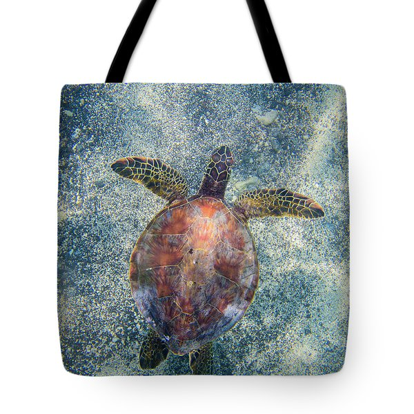 Green Sea Turtle From Above Tote Bag
