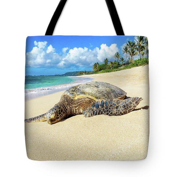 Green Sea Turtle Hawaii Tote Bag