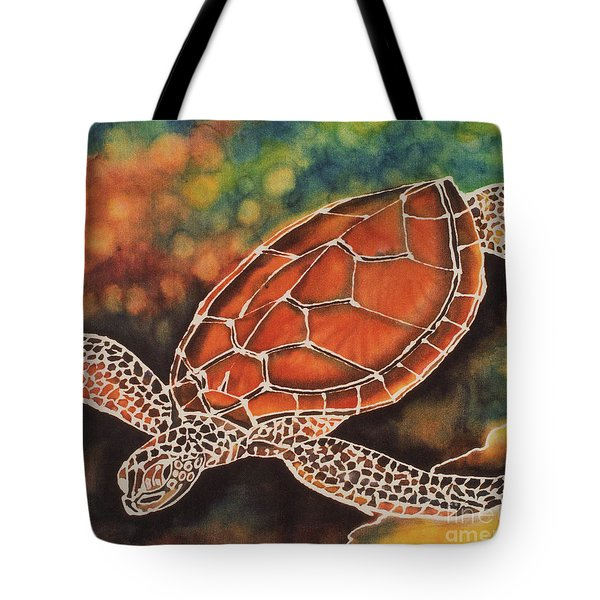 Green Sea Turtle Tote Bag by Jacqueline Phillips-Weatherly