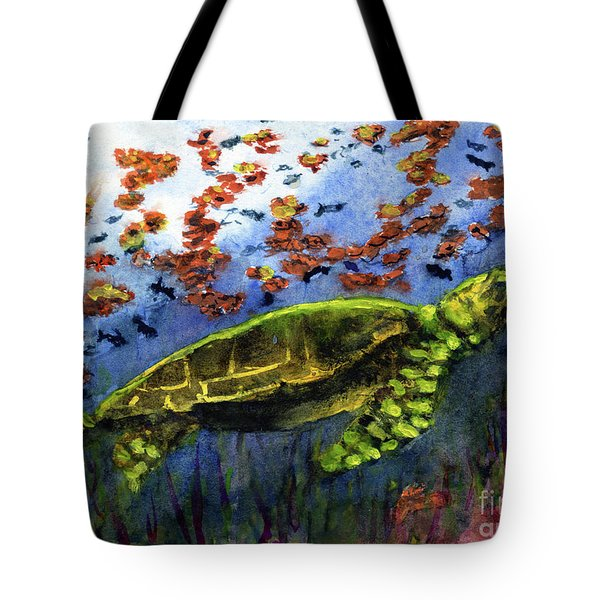 Green Sea Turtle Tote Bag by Randy Sprout