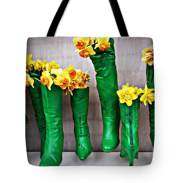 Green Shoes For Yellow Spring Flowers Tote Bag