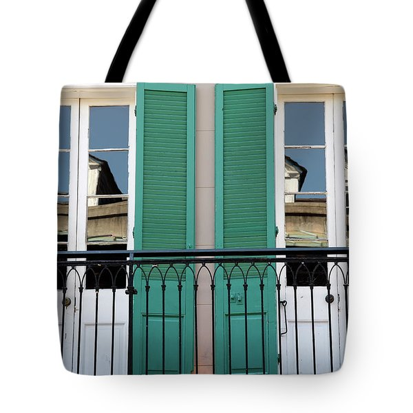 Tote Bag featuring the photograph Green Shutters Reflections by KG Thienemann