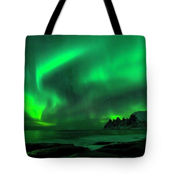 Green Skies At Night Tote Bag
