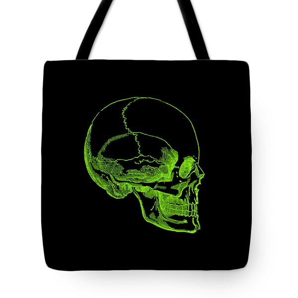 Tote Bag featuring the digital art Green Skull by Jennifer Hotai