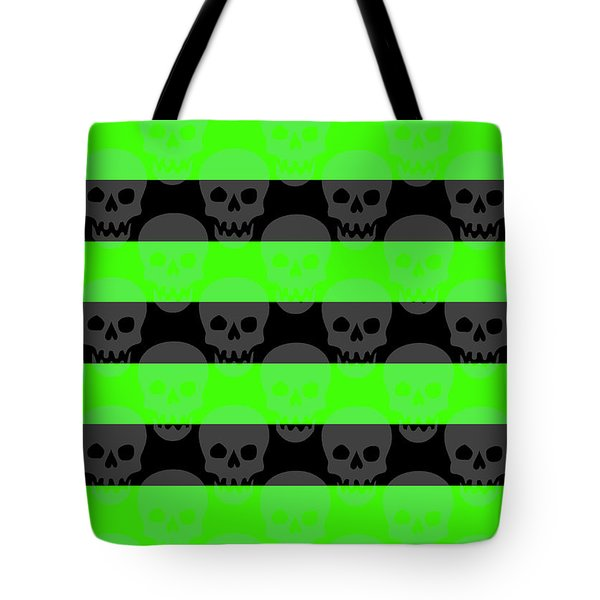 Green Skull Stripes Tote Bag