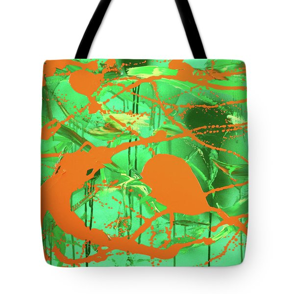 Tote Bag featuring the painting Green Spill by Thomas Blood