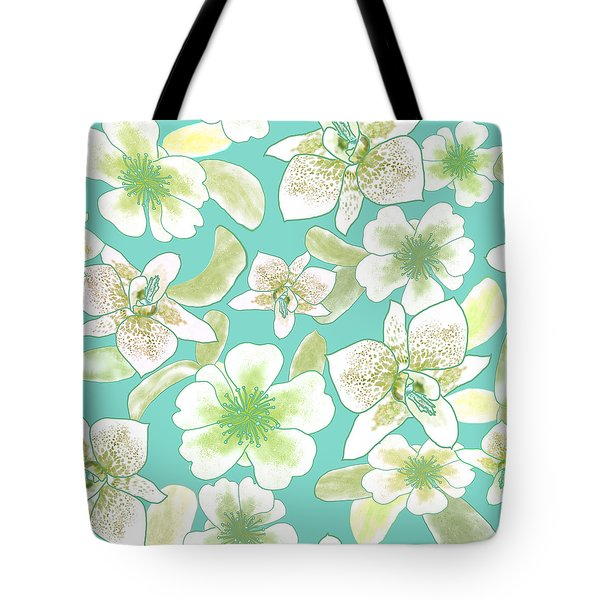 Green Spotted Orchids On Turquoise Tote Bag