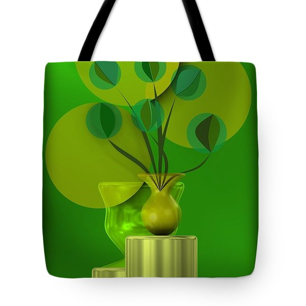 Green Still Life With Abstract Flowers, Tote Bag