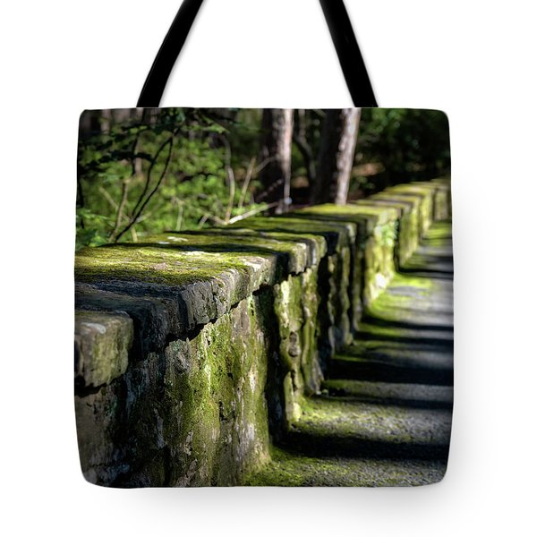 Tote Bag featuring the photograph Green Stone Wall by James Barber