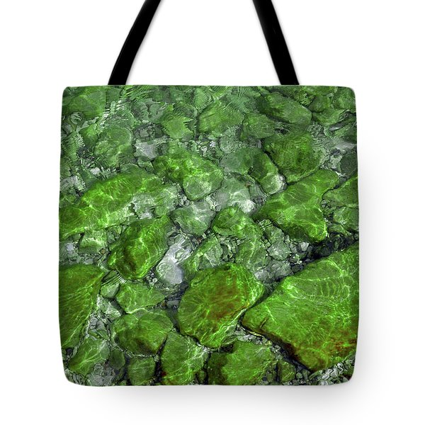 Tote Bag featuring the photograph Green Stone Waters by LeeAnn McLaneGoetz McLaneGoetzStudioLLCcom