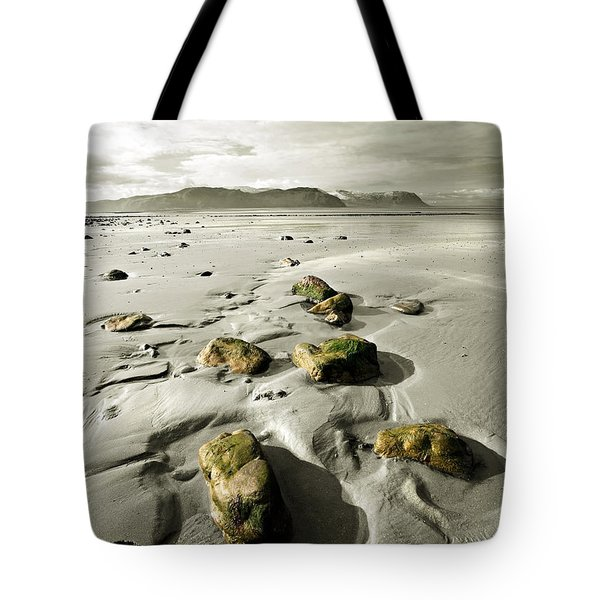 Green Stones On A North Wales Beach Tote Bag by Mal Bray