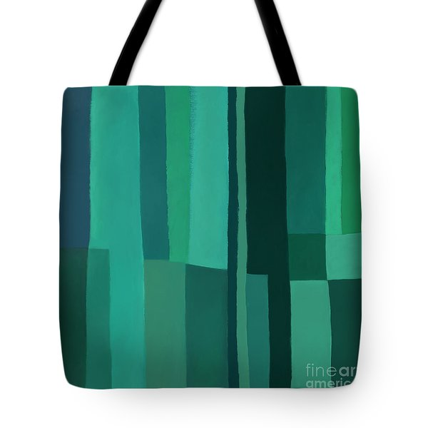Tote Bag featuring the digital art Green Stripes 1 by Elena Nosyreva