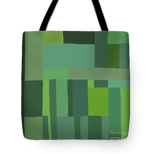 Tote Bag featuring the digital art Green Stripes 2 by Elena Nosyreva