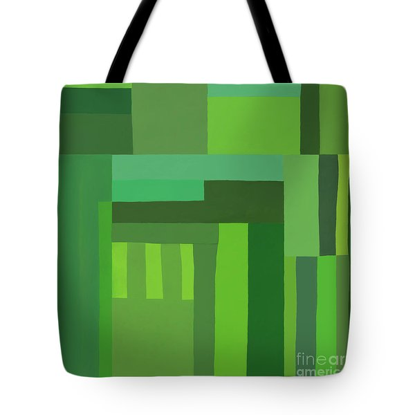 Tote Bag featuring the digital art Green Stripes 3 by Elena Nosyreva