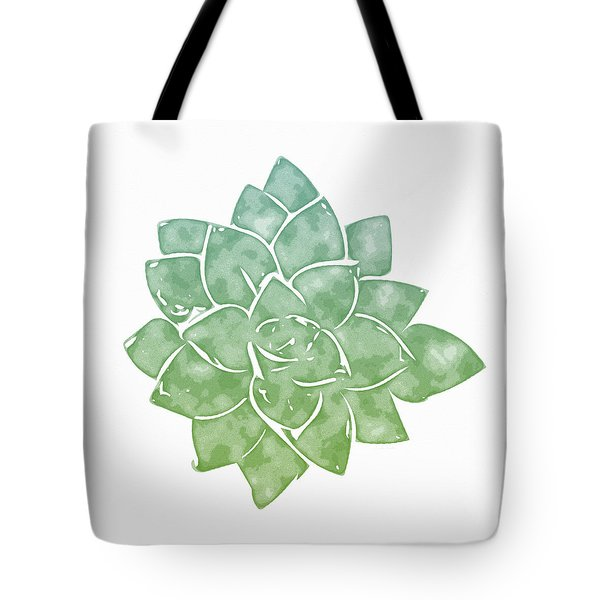 Tote Bag featuring the mixed media Green Succulent 1- Art By Linda Woods by Linda Woods