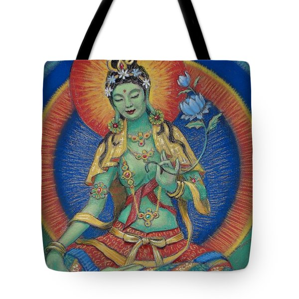 Tote Bag featuring the painting Green Tara by Sue Halstenberg