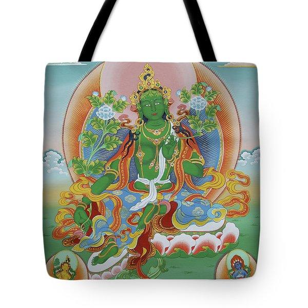 Green Tara With Retinue Tote Bag by Sergey Noskov