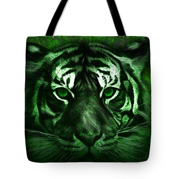 Green Tiger Tote Bag by Michael Cleere