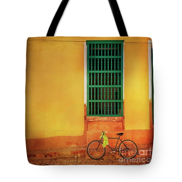 Tote Bag featuring the photograph Green Towel Bicycle by Craig J Satterlee