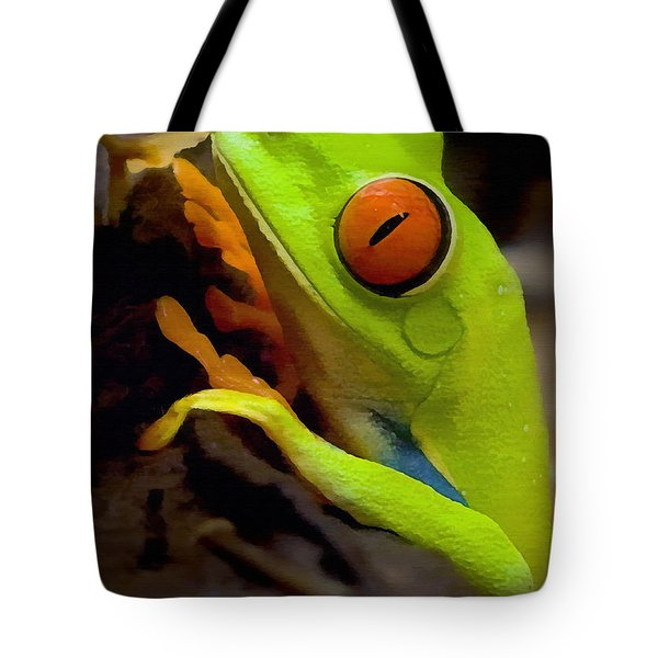 Green Tree Frog Tote Bag by Sharon Foster