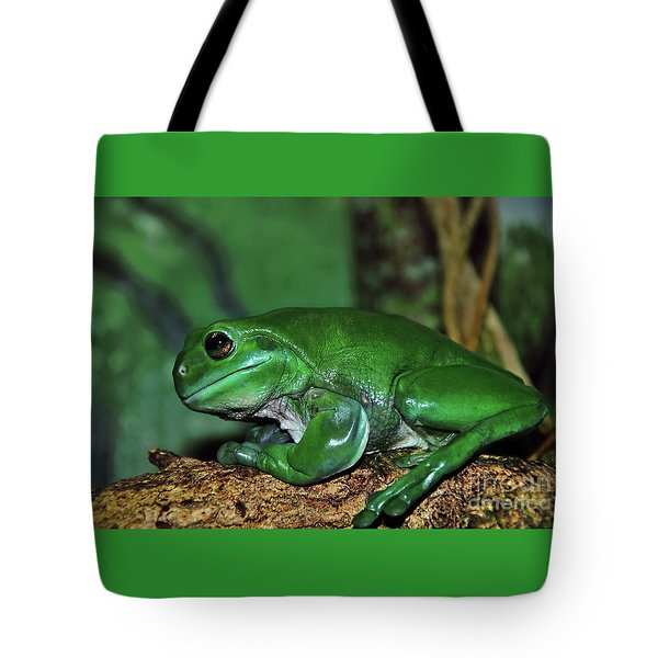 Green Tree Frog With A Smile Tote Bag by Kaye Menner