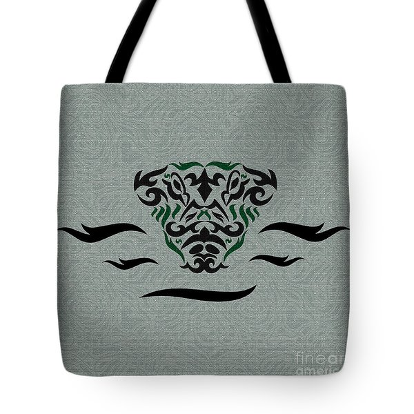 Green Tribal Gator Tote Bag