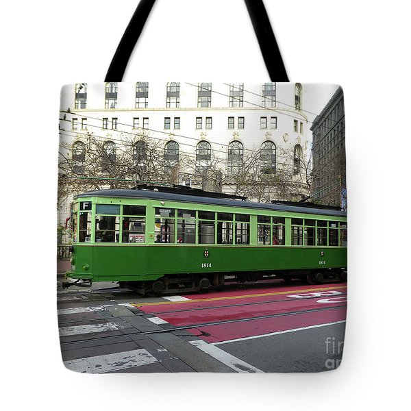 Tote Bag featuring the photograph Green Trolley by Steven Spak