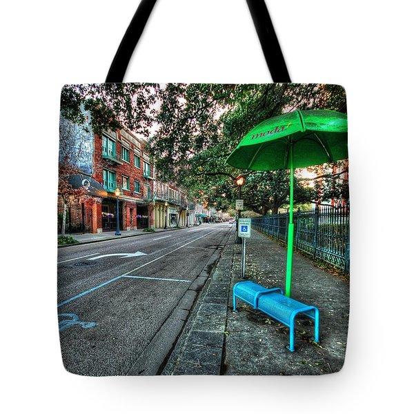 Green Umbrella Bus Stop Tote Bag