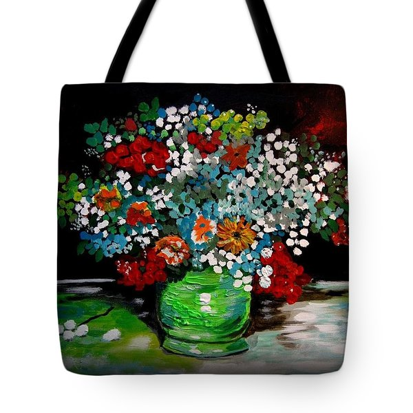 Green Vase With Flowers Tote Bag