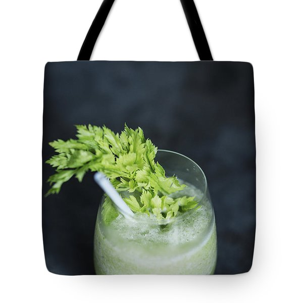 Green Vegetables Juice Glass With Kale And Celery Tote Bag