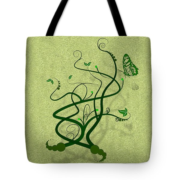 Green Vine And Butterfly Tote Bag by Svetlana Sewell