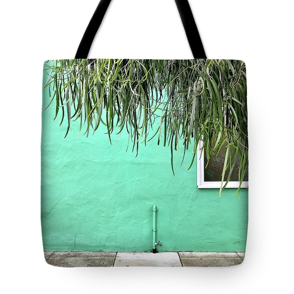 Green Wall With Leaves Tote Bag