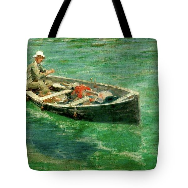Tote Bag featuring the painting Green Waters by Henry Scott Tuke