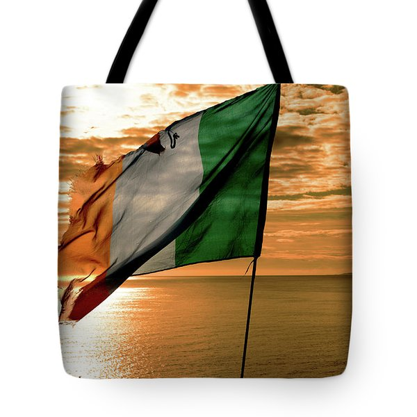 Flag Of Ireland At The Cliffs Of Moher Tote Bag