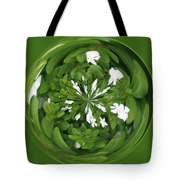 Tote Bag featuring the photograph Green-white Orb by Bill Barber