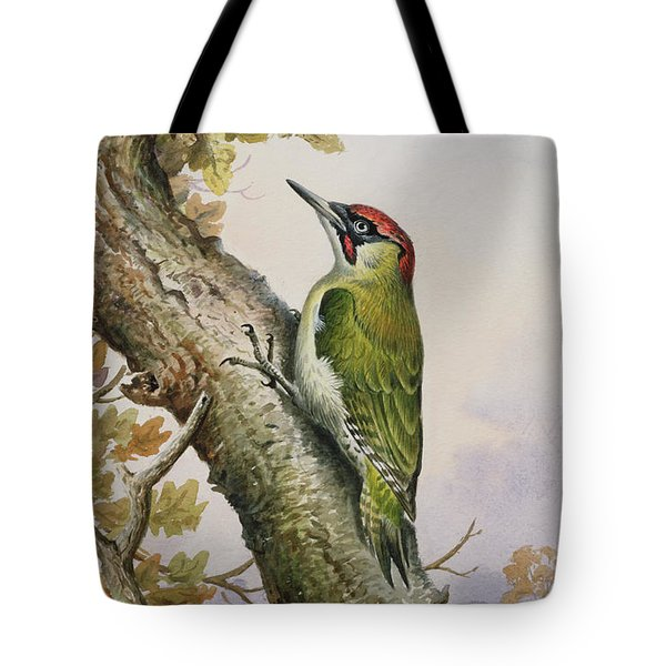 Green Woodpecker Tote Bag by Carl Donner