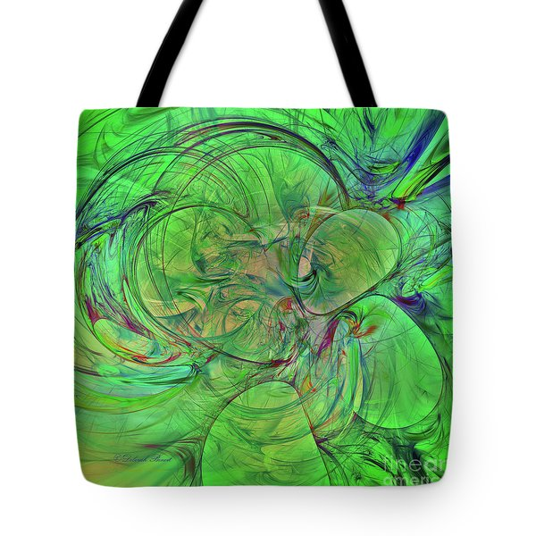 Tote Bag featuring the digital art Green World Abstract by Deborah Benoit
